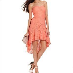 Coral Lace High Low Dress